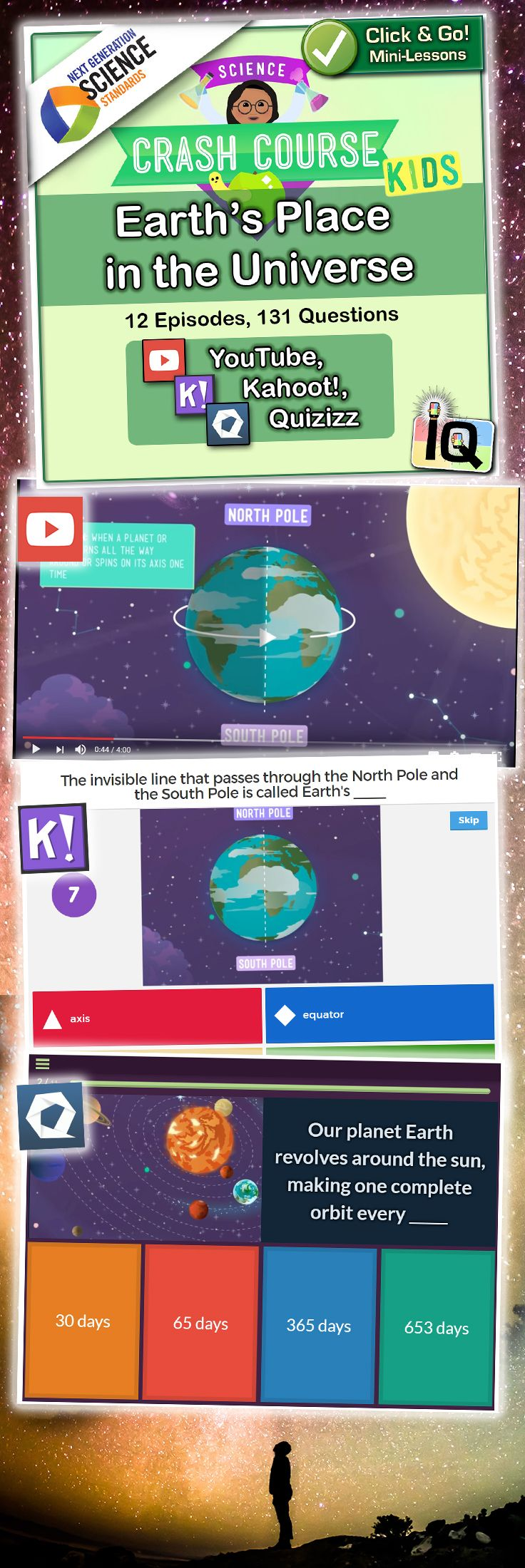 Point and Click for instant Mini-Lessons with Game-Based Assessment! � https://www.teacherspayteachers.com/Product/Crash-Course-Kids-Earths-Place-in-the-Universe-IQ-NGSS-2898125