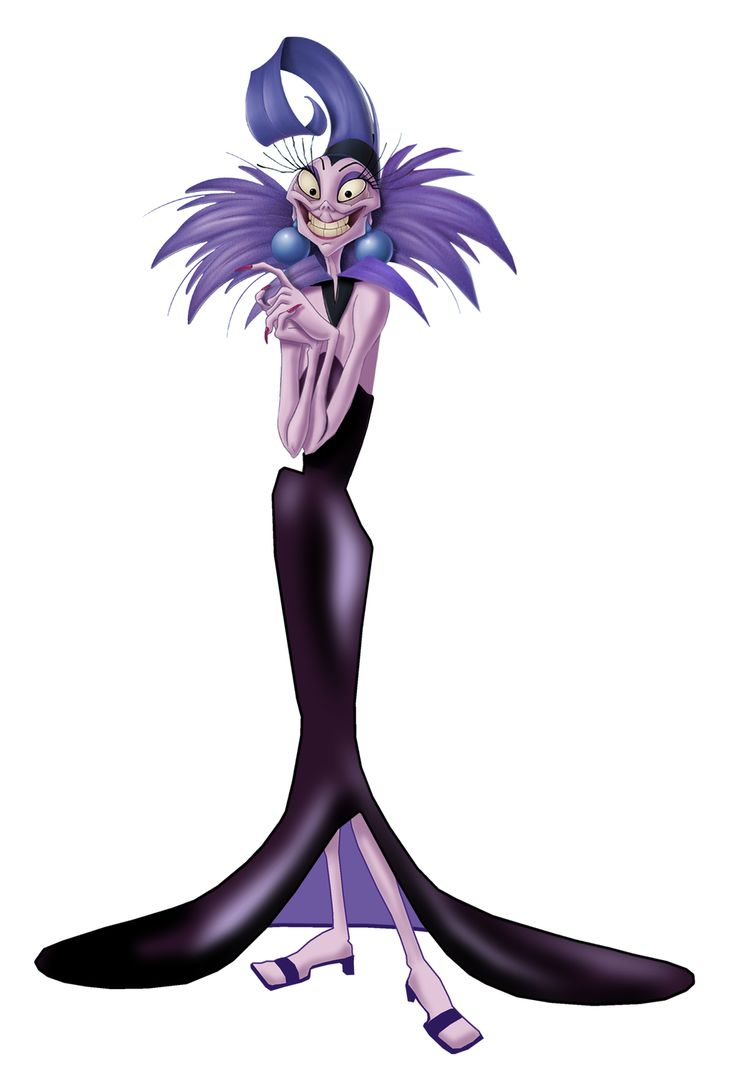 Yzma is the main antagonist of the 2000 Disney animated feature film The Emperor's New Groove. Shades of purple in the Emperor's New Groove are almost exclusively reserved for Yzma and her world (her Secret Lab, and the Palace when she is briefly Empress). These colours were chosen because they are generally considered the colours of madness. Yzma's angular shape is intended to suggest her evil nature; early designs depict an even more jagged, pointed figure. Yzma's design is...