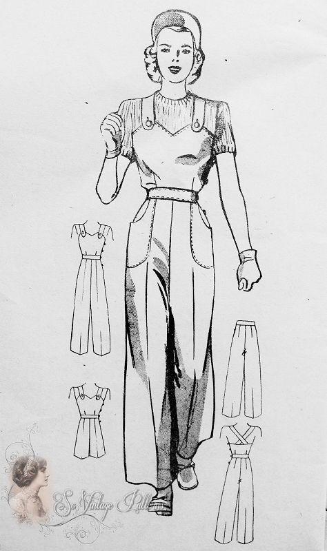 1940s Rosie The Riveter Pants Cover All Jumpsuit Pattern Fabulous Original  Hard To Find WW II Era Trousers Slacks Pattern Anne Adams 4682 Vintage Sewing Pattern Bust 36 FACTORY FOLDED