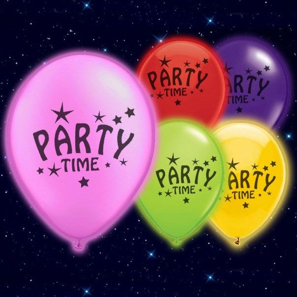 Selvlysende Party Time Illoom Ballon - Pakke med 15