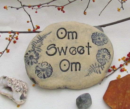 Om sweet Om - Yoga sign / yoga phrase or saying ~ Hand lettered clay tile with word Om ~ Outdoor home decor,  beige natural