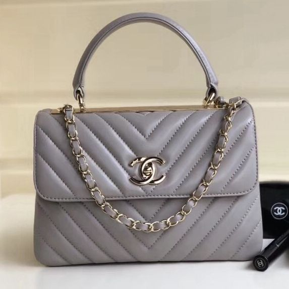 0043c24f8b545f Chanel Chevron Small Trendy CC Flap Bag With Top Handle A92236 Gray  2018(Gold-tone Hardware)
