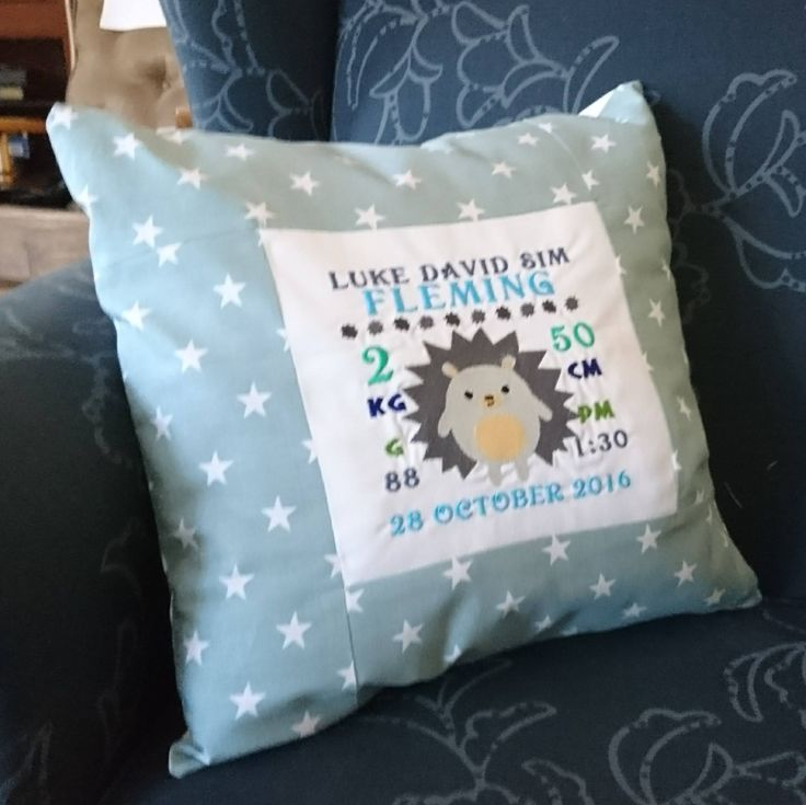 Excited to share the latest addition to my #etsy shop: Hedgehog Personalised Birth Info Pillow Cover http://etsy.me/2DqKHNu #housewares #pillow #bedroom #cotton #coveronly #babypillow #namepillow #custompillow
