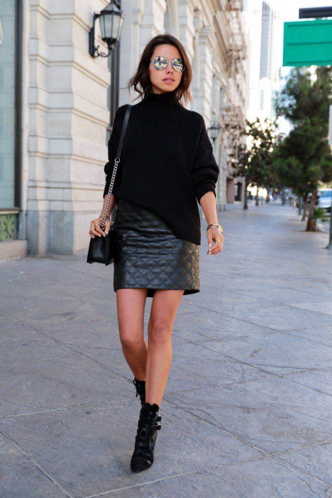 レザーのキルティングスカートでモードな雰囲気♡人気・おすすめ・トレンドのレザースカートのモテコーデ一覧♪