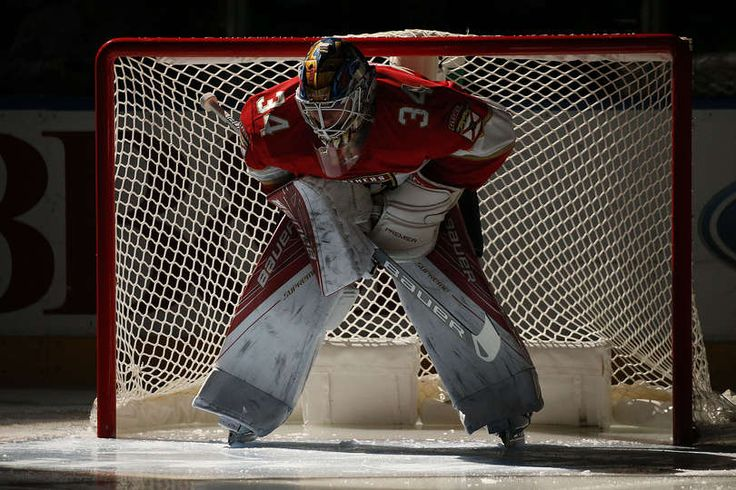 SUNRISE, FL - MARCH 23: Goaltender James Reimer #34 of the Florida Panthers glides in front of the net prior to the start of the game against the Arizona Coyotes at the BB&T Center on March 23, 2017 in Sunrise, Florida. (Photo by Eliot J. Schechter/NHLI via Getty Images)