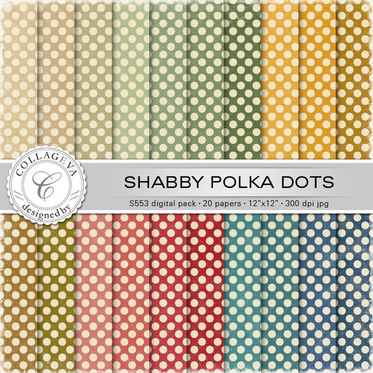 """Shabby Chic Circles Digital Paper Pack, 20 printable sheets, 12""""x12"""" Large Polka-dots, Textured Retro pattern Vintage green blue red (S553) by collageva on Etsy"""