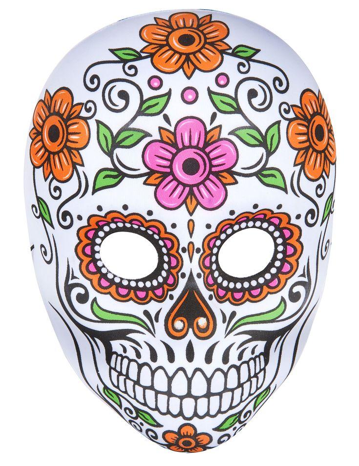 Questa maschera da scheletro colorata per adulto in plastica e ricoperta da tessuto all'interno e al'esterno. Decorata da motivi floreali e arabescati tipici della Festa dei Morti messicana. Sarà perfetta per completare un travestimento in stile Dia de los Muertos per la sera del 31 ottobre.