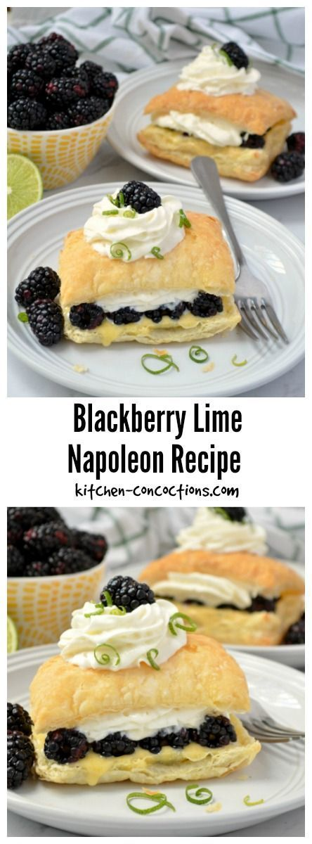 Blackberry Lime Napoleon Recipe -This easy Blackberry Lime Napoleon Recipe, with fresh blackberries, homemade lime curd, whipped cream and puff pastry, is light and refreshing and the perfect dessert for Easter brunch or a spring dinner party! {ad} #SpringReddi @walmart