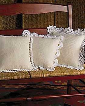 This pattern is the perfect way to dress up any pillow. 4 styles, 3 to fit 14 in [35.5 cm] sq pillow, 1 to fit 10 in [25.5 cm] sq pillow. Bernat Handicrafter Crochet Cotton, size 1.75 mm (U.S. 2) crochet hook.