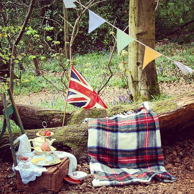 Picnic in the woods. Vintage hire from the Constance Wallace Tea Shop in Barnt Green