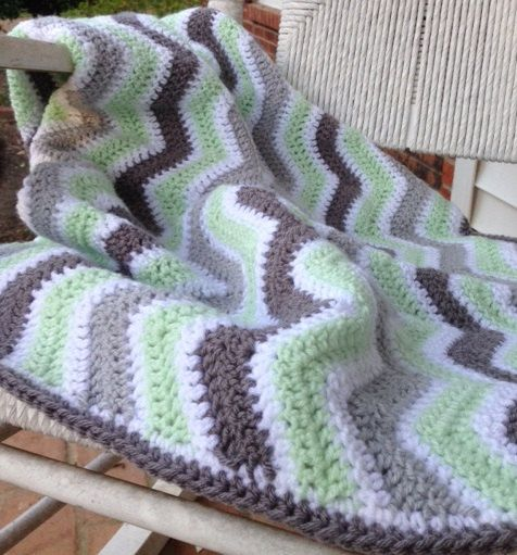 Mint Green and Grey Chevron crochet baby blanket by CashEwLaLa, $35.00