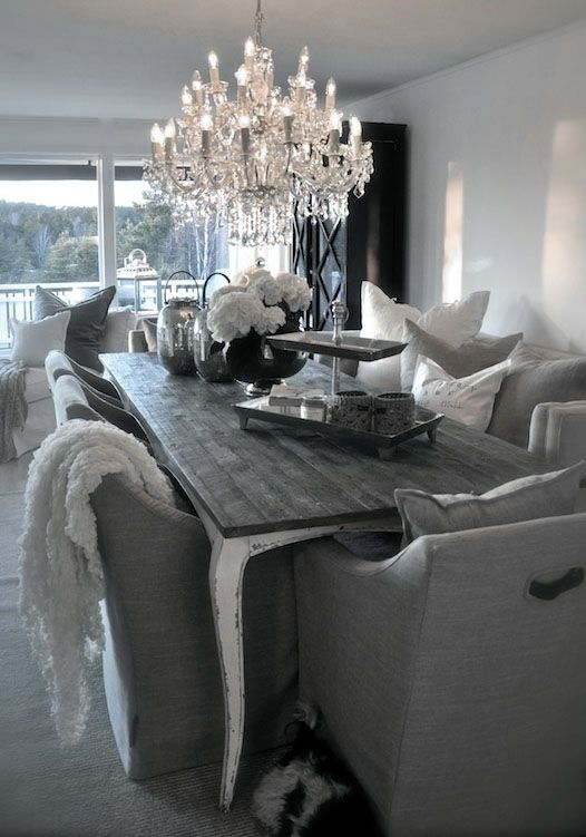 ♅ Dove Gray Home Decor ♅ eclectic grey dining room