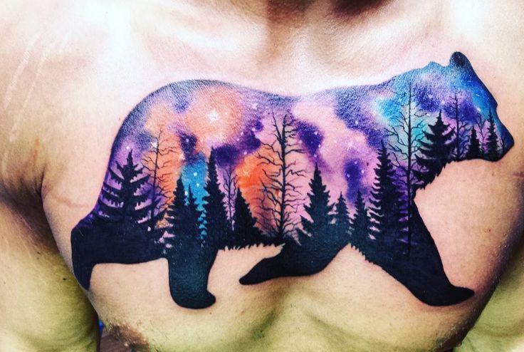 Northern Lights Bear Tattoo | Venice Tattoo Art Designs