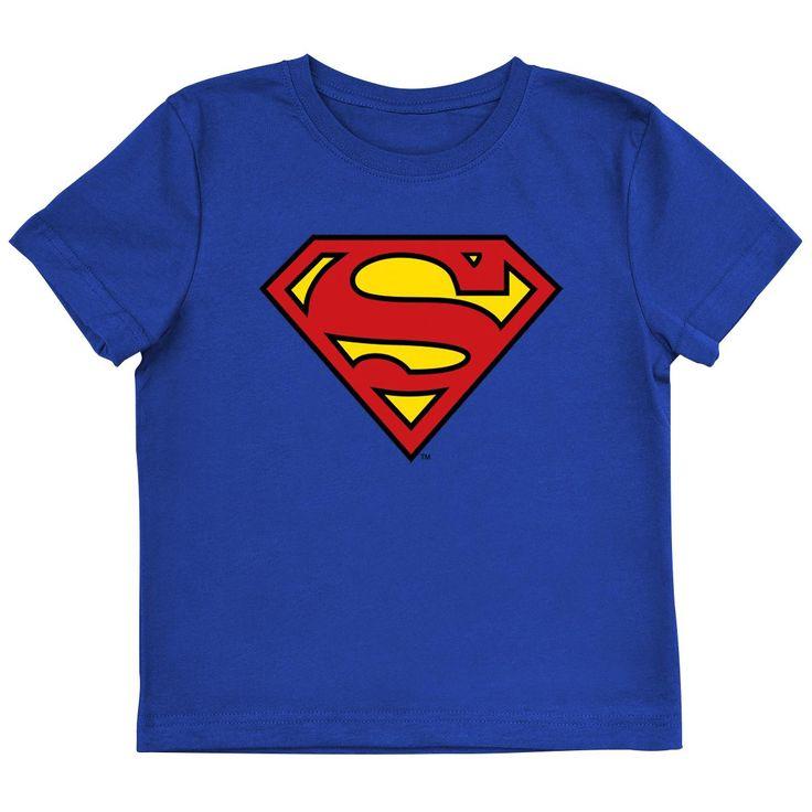 """Maglia bimbo/a blu """"Logo"""" di #Superman con stampa frontale."""