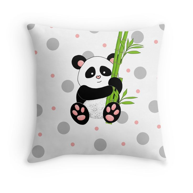 Cute Panda with polkadot background
