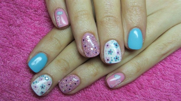 Pink, white and turquoise Gel Nails. Perfect for Spring! Mirror Mirror Salon and Spa Kelowna BC #mm #gelnails #2014nails #nailart #naildesign #biosculpture