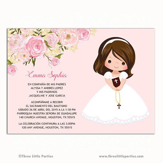 Invitacion Primera Comunión, Printable Floral First Communion Invitation, Girl…
