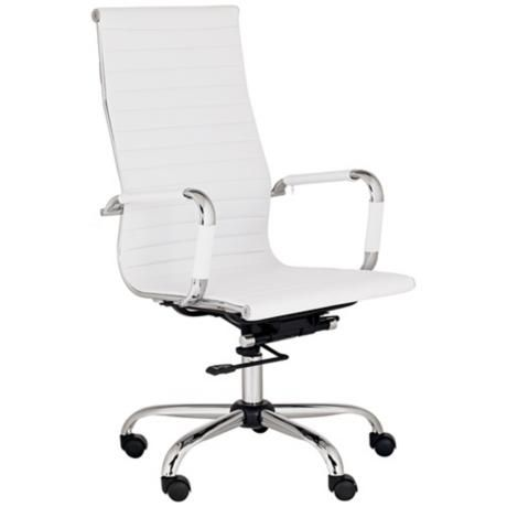 serge white leather high back swivel office chair
