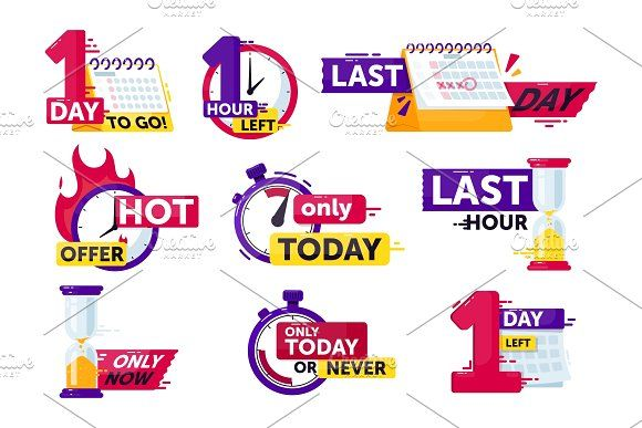 Time Left Set Isolated Clock Timer In 2020 Sticker Sign Timer Badge Icon