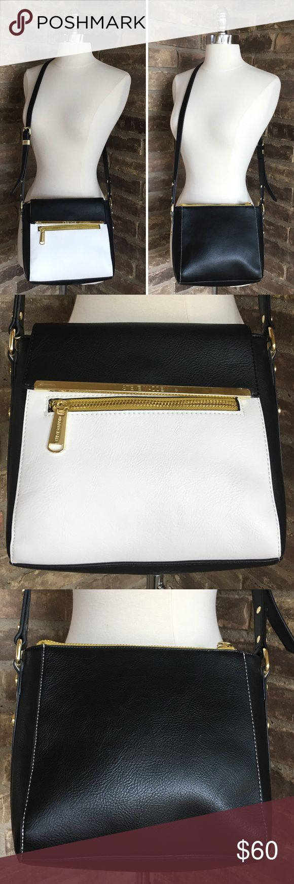 NWOT Steve Madden Bag Black White Gold Crossbody Steve Madden purse black, white & gold crossbody handbag shoulder bag. New Without Tags, plastic is still on some of the hardware, please see photos. Steve Madden Bags Crossbody Bags
