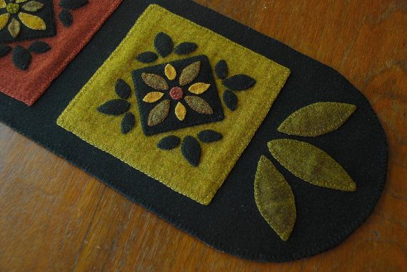 Hand dyed rug hooking wool applique table runner redware penny rug quilt block folk art candle mat prairie folk art felted mill dyed wool