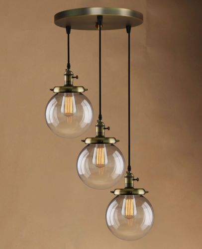 Retro Vintage Cluster Hanging Ceiling Lights Globe 3 Glass Shades Pendant Lamp - Cheap Chandeliers UK