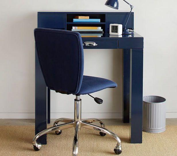 Inexpensive & sleek mini Parsons desk from Pottery Barn Kids