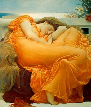 Flaming June is a painting by Sir Frederic Leighton, produced in 1895 is widely considered to be Leighton's magnum opus, showing his classicist nature. It is thought that the woman portrayed alludes to the figures of sleeping nymphs and naiads the Greeks often sculpted. The (toxic) Oleander branch in the top right, symbolises the fragile link between sleep and death.