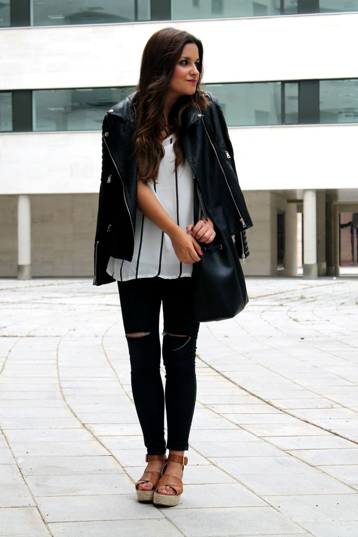 Cloudy day outfit: leather jacket, striped top