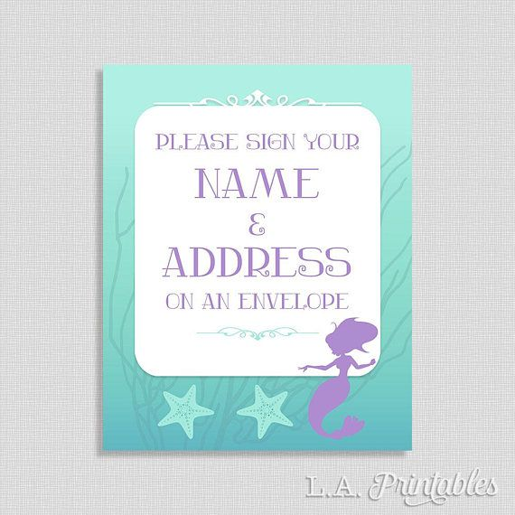 Address an Envelope Sign Mermaid Shower Table Sign Baby