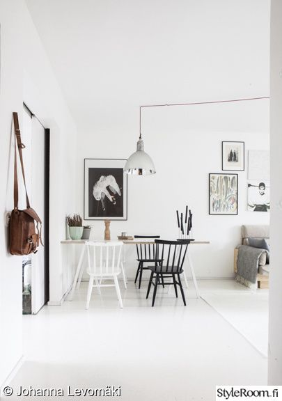ruokapöytä,ruokailutila,taulukollaasi,juliste,pinnatuoli,pinnatuolit,valkoinen lattia,olohuone