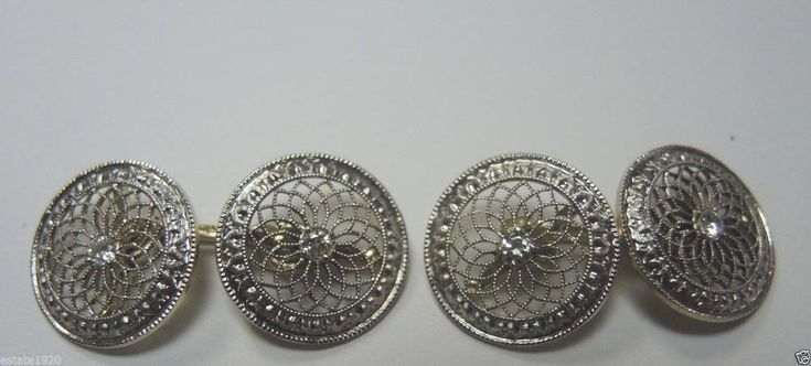 Antique Vintage Diamond CuffLinks Platinum 14K Yellow Gold Fine Jewelry EGL USA
