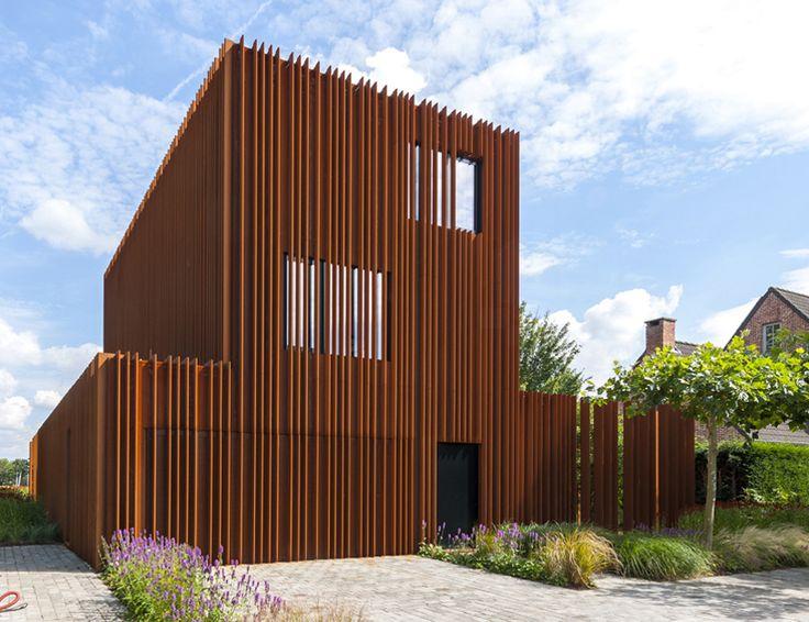 DMOA architecten forges corten house from weathering steel lamellae - designboom   architecture