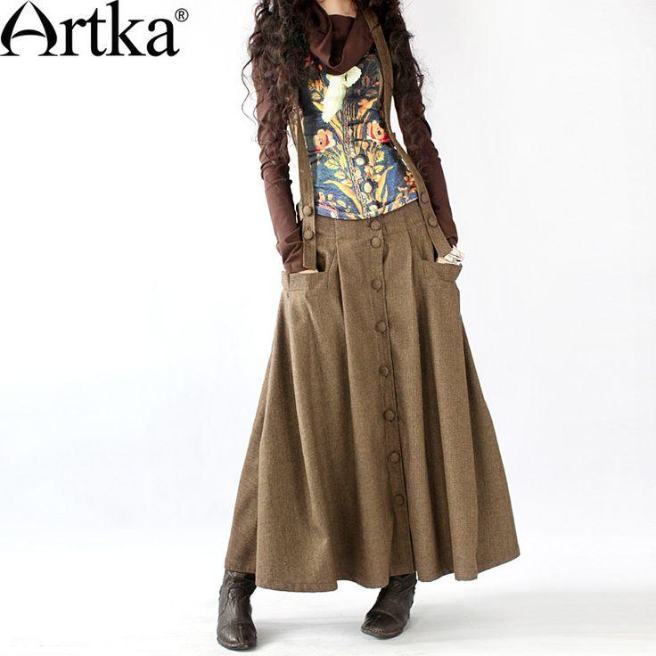 Длинная коричневой расцветки юбка на лямках в стиле бохо, 13743852680 купить за 6030 руб. с доставкой по России, Украине, Беларуси и миру | Artka: интернет-магазин обуви и одежды Artka