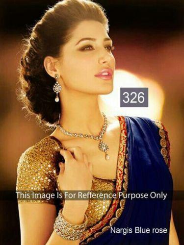 Indian Bollywood Party Wear Blue Chiffon Saree New Designer Pakistani Sari
