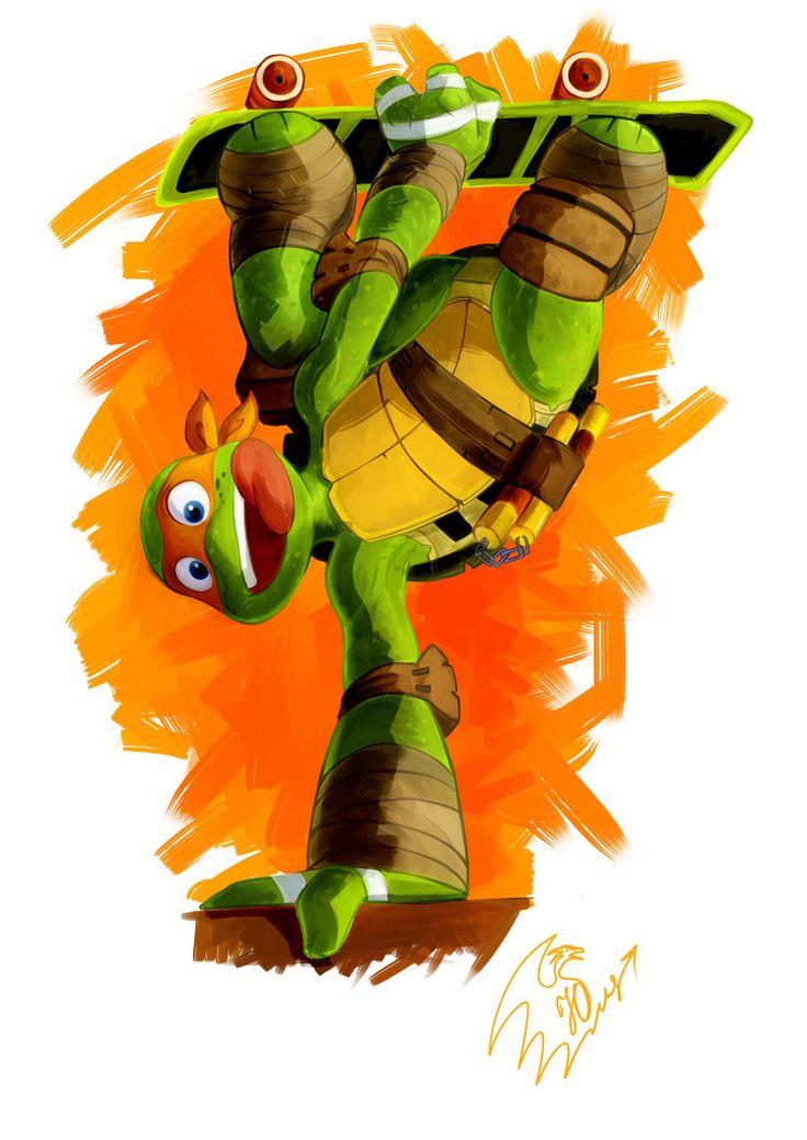 Michelangelo on Skateboard from Teenage Mutant Ninja Turtles by YankovskayaJulia on deviantART