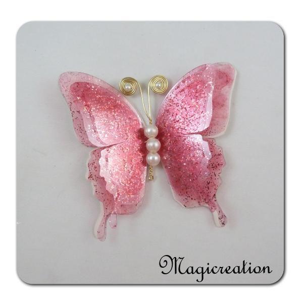 papillon GM attache 3D rose