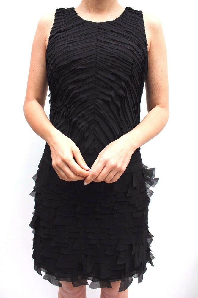 e797734ddc Karen Millen Black Frill Mini Party Dress Layered Cocktail Sleeveless 10 38  New  KarenMillen