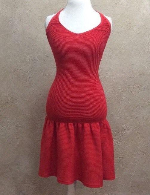 Victoria's Secret Stretch Halter Dress W/ Bottom Ruffle Red/Orange Sz S/P #VictoriasSecret #HalterDressBeachDress