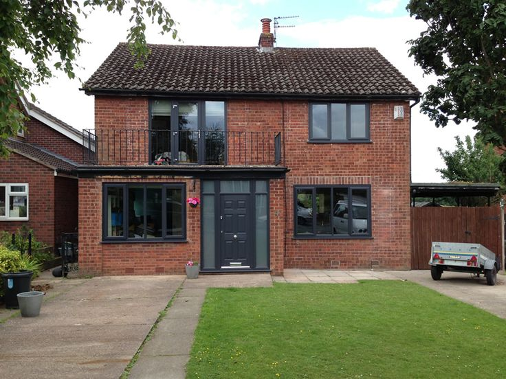Grey windows with red brick google search brick house for House with windows