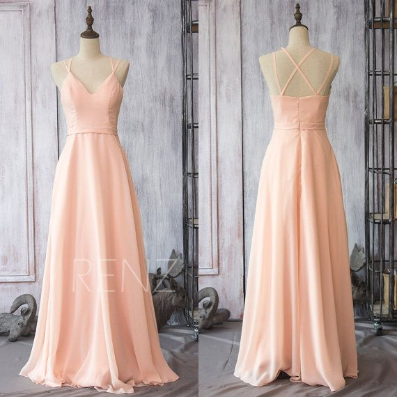 Hey, I found this really awesome Etsy listing at https://www.etsy.com/listing/224338175/2016-peach-chiffon-bridesmaid-dress