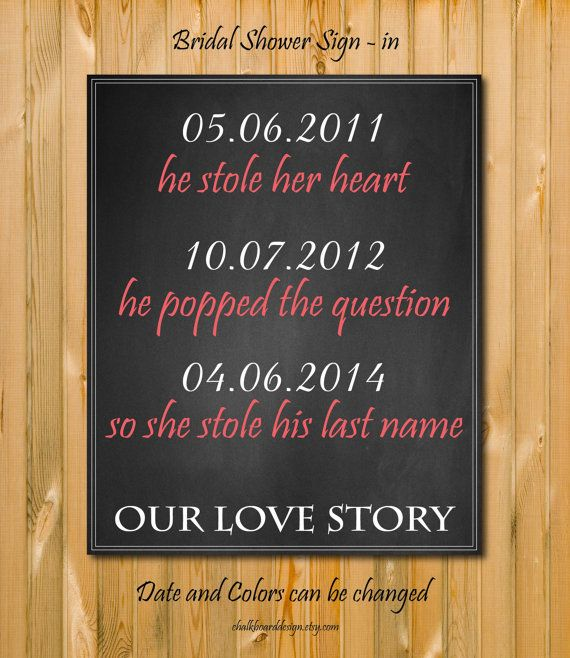 Custom Bridal Shower decor, Modern chalkboard style Love story, Bridal shower art, Bridal shower decorations, DIY AWW