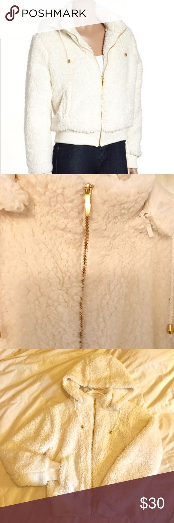 Make offer🥂Faux Wool bomber jacket w/detach hood Beautiful white/cream color with gold hardware! Incredibly soft inside and out, no stains! Has been sitting in my closet and needs some love! 🥂Open to offers 😊 Jackets & Coats