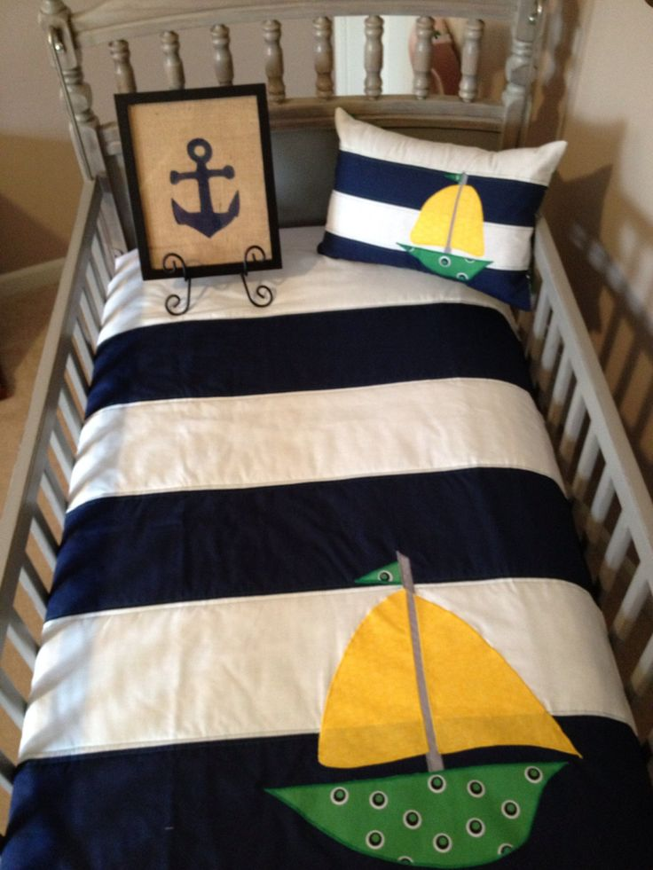 Two Piece Nautical Boy Nursery Bedding w/ Sailboat by shilohmae, $125.00
