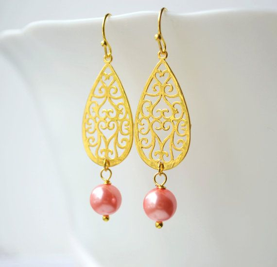 Gold dangle earrings blush pink bridesmaid by ArtemisBridalJewelry