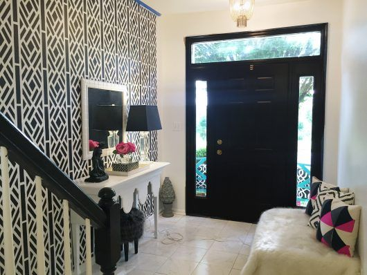 DIY black and white stenciled entryway accent wall using the Lattice ...