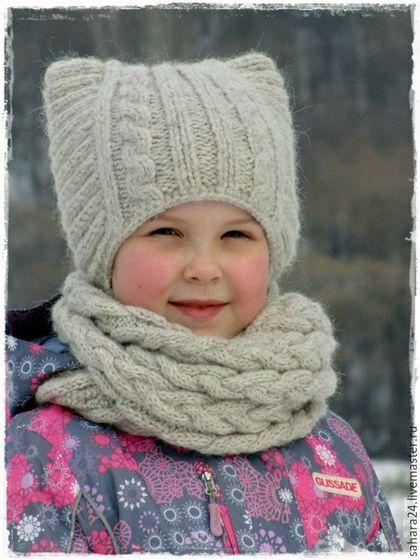 Купить или заказать Детский зимний комплект - шапка и снуд в интернет-магазине на Ярмарке Мастеров. Комплект связан спицами из чудесной полушерстяной пряжи. Шапочка и снуд мягкие, эластичные и приятные по ощущениям. Подойдёт для ребёнка 6-8 лет. Шапка с 'ушками' и с завязками, снуд - вязаные косы.