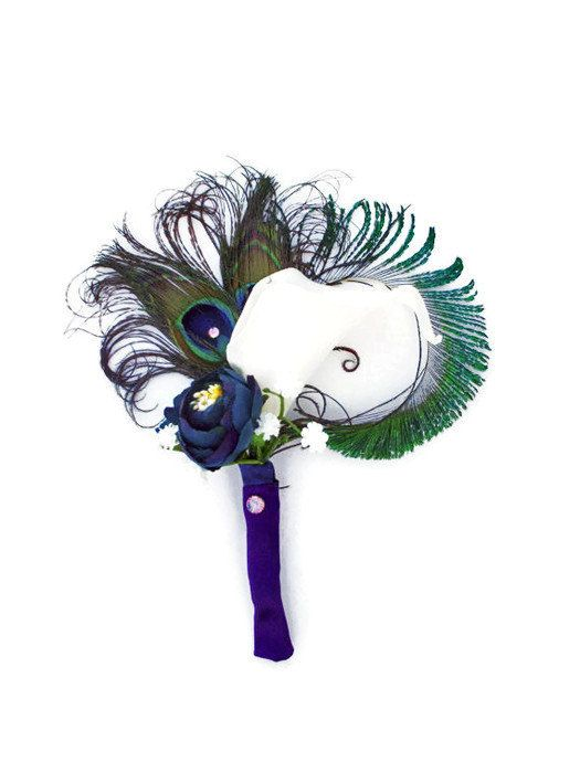 Deluxe Peacock boutonniere with peacock feathers and real touch calla lily Purple and Navy ribbon / keepsake flowers /Peacock wedding theme