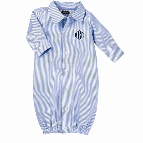 A dapper and preppy oxford convertible gown is the sweetest gift for that special baby boy! | @cornerstorkbaby