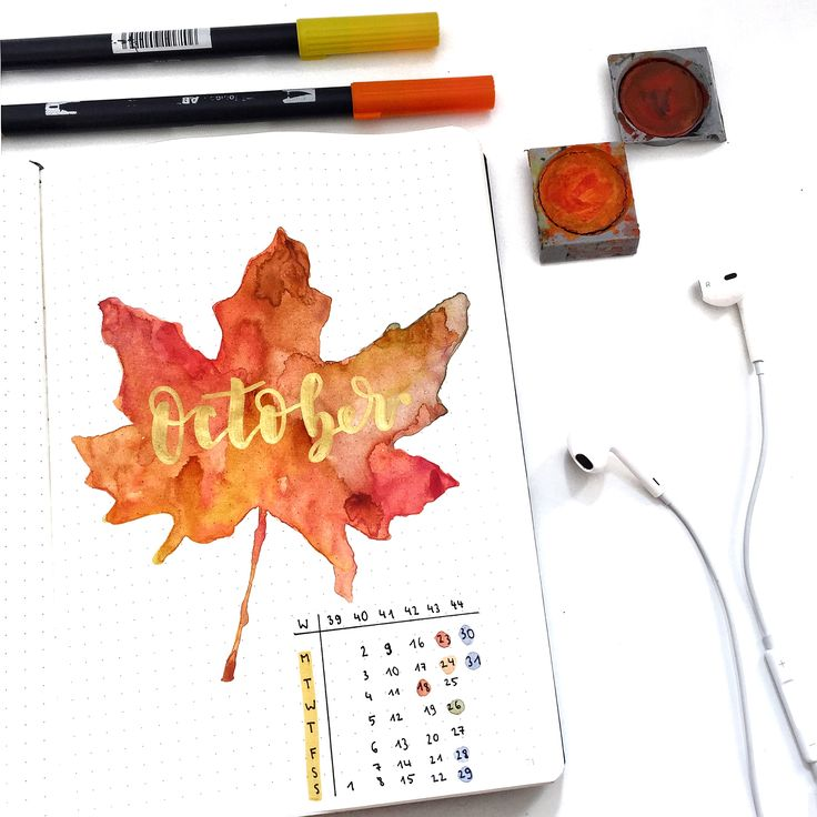My last monhtly page which I really liked. #Bulletjournal #Bujo #art #sketch #watercolor #aquarelle #october #monthly #calender #bujocommunity #bujoinspiration #inspiration